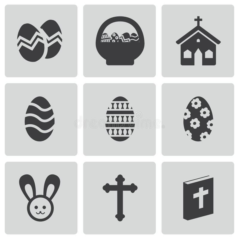 Wektorowe czarne Easter ikony ustawiać ilustracja wektor