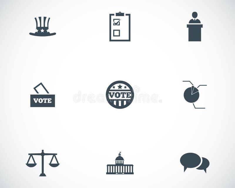 Wektorowe czarne electiion ikony ustawiać ilustracji