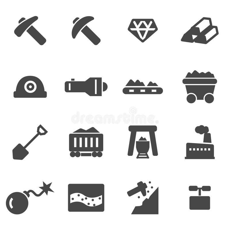 Wektorowe czarne górnicze ikony ustawiać royalty ilustracja