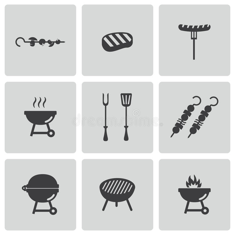 Wektorowe czarne grill ikony ustawiać royalty ilustracja
