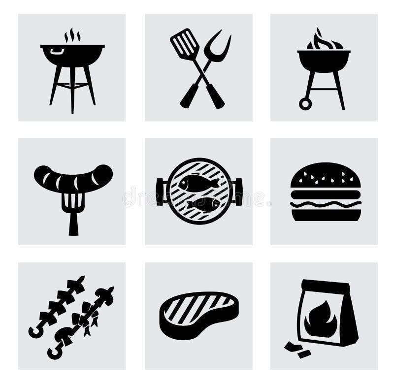 Wektorowe czarne grill ikony ustawiać na szarość royalty ilustracja