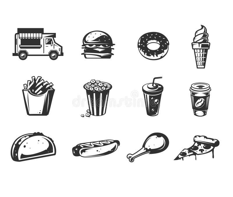 Wektorowe czarne ikony - samochód szybka jedzenie lub jedzenie ciężarówka dostawa, set ikony różnorodni fastów food produkty royalty ilustracja
