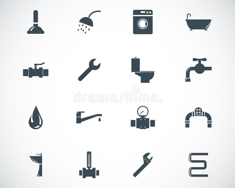 Wektorowe czarne instalacj wodnokanalizacyjnych ikony ilustracji