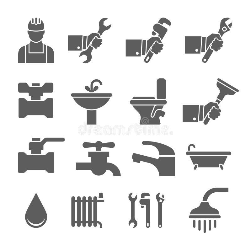 Wektorowe czarne instalacj wodnokanalizacyjnych ikony ustawiać ilustracja wektor