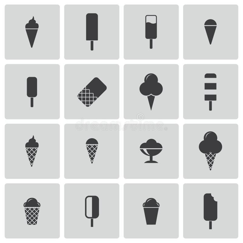 Wektorowe czarne lody ikony ustawiać ilustracja wektor