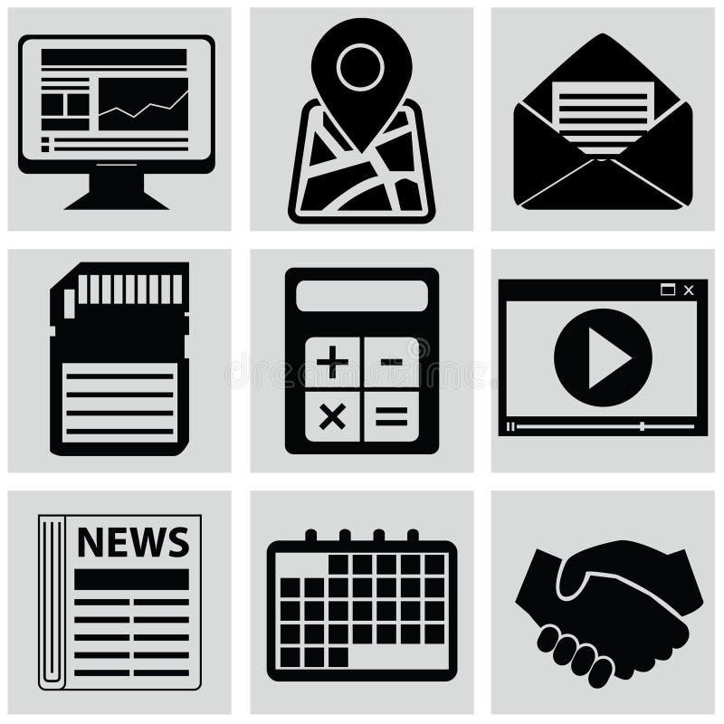 Wektorowe czarne medialne ikony ustawiać na szarość zdjęcia stock