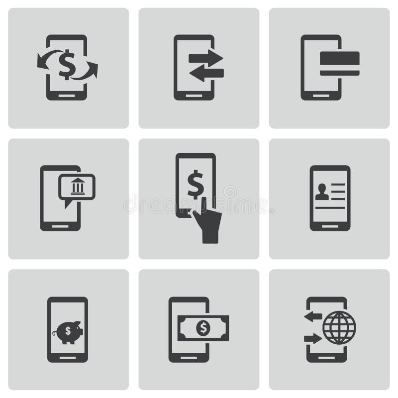 Wektorowe czarne mobilne bankowość ikony ustawiać ilustracji