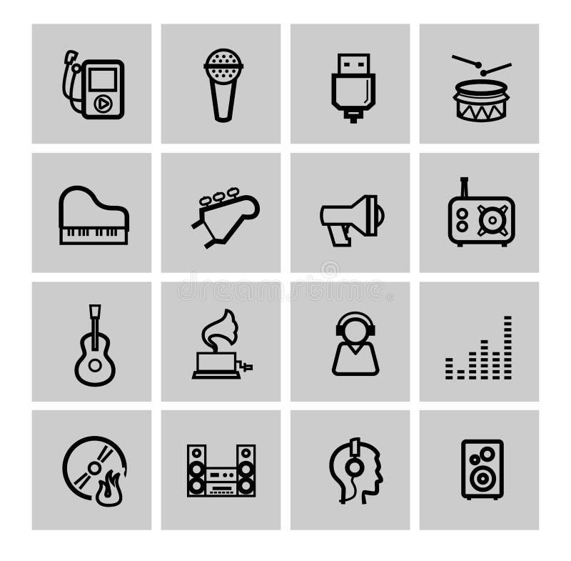 Wektorowe czarne muzyczne ikony ustawiać ilustracja wektor