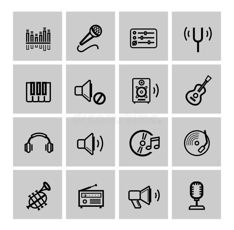 Wektorowe czarne muzyczne ikony ustawiać ilustracji