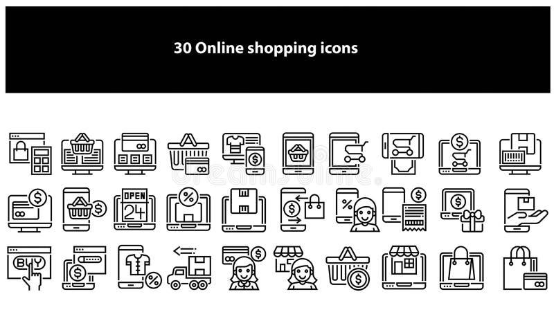 Wektorowe czarne online zakupy ikony - wektor ilustracja wektor