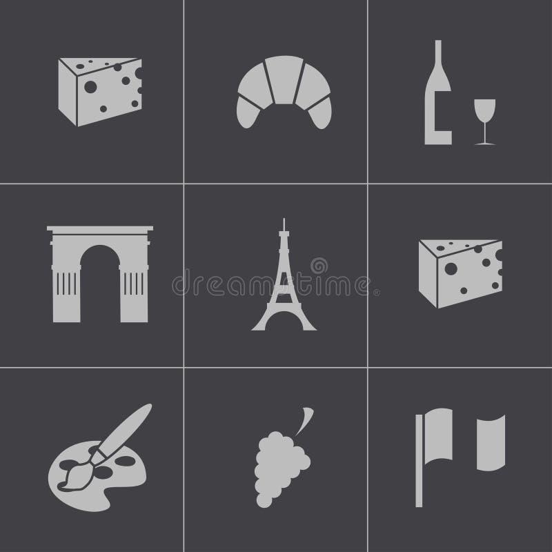 Wektorowe czarne Paris ikony ustawiać ilustracja wektor