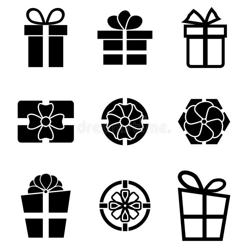 Wektorowe czarne prezent ikony ustawiać royalty ilustracja