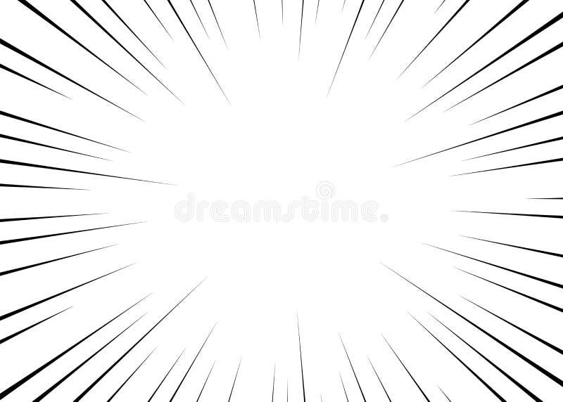 Wektorowe czarne promieniowe linie dla komiczek, bohater akcja Manga ramy prędkość, ruch, wybuchu tło Odosobniony tło royalty ilustracja