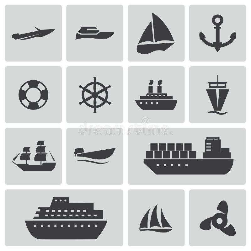 Wektorowe czarne statku i łodzi ikony ustawiać royalty ilustracja