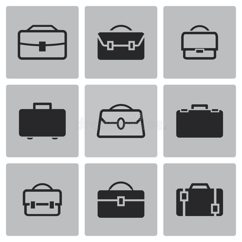 Wektorowe czarne teczek ikony ustawiać ilustracja wektor