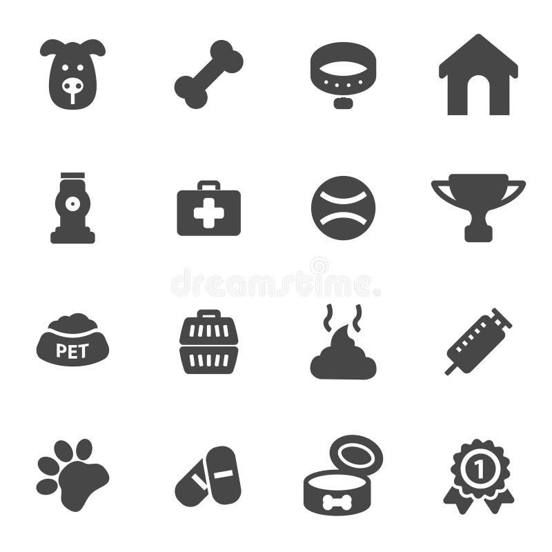 Wektorowe czarnego psa ikony ustawiać ilustracji