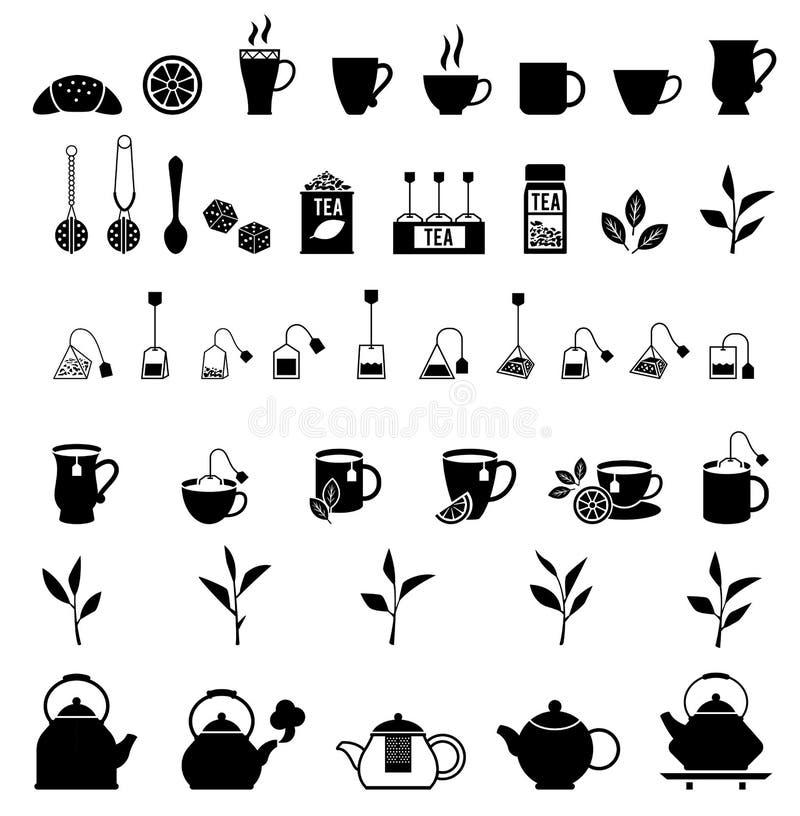 Wektorowe czarnej herbaty ikony ustawiać royalty ilustracja
