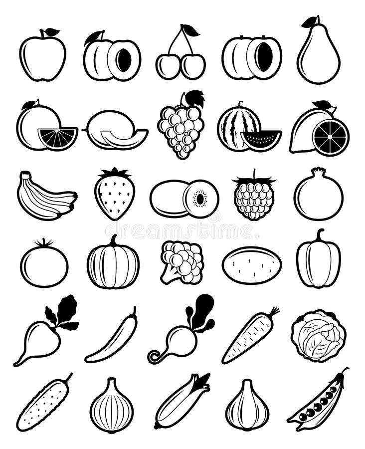 Wektorowe Czarny I Biały owoc i warzywo ikony royalty ilustracja