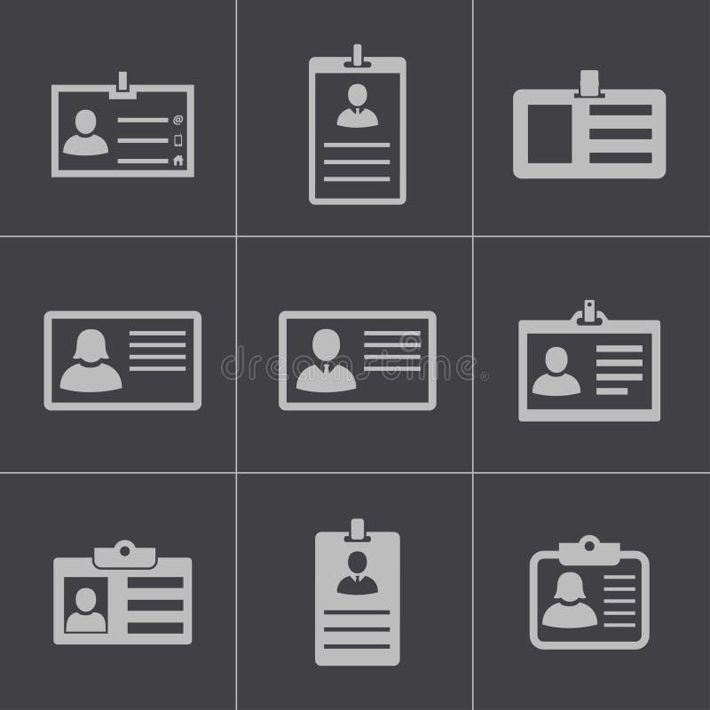 Wektorowe czerni id karty ikony ustawiać royalty ilustracja