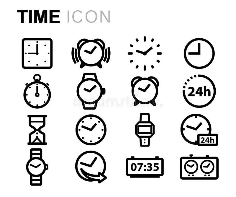 Wektorowe czerni linii czasu ikony ustawiać royalty ilustracja