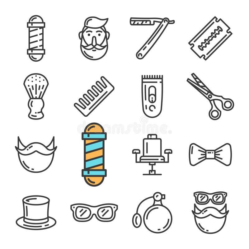 Wektorowe czerni linii fryzjera męskiego sklepu ikony ustawiać Zawiera taki ikony jak słupa, krzesło, modniś, żyletka ilustracji