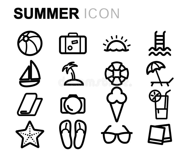 Wektorowe czerni linii lata ikony ustawiać royalty ilustracja