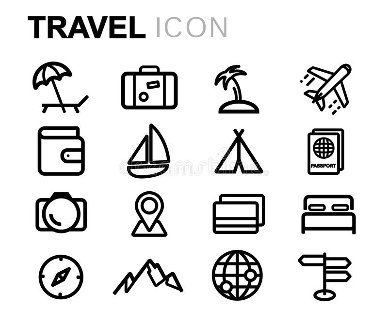 Wektorowe czerni linii podróży ikony ustawiać ilustracja wektor