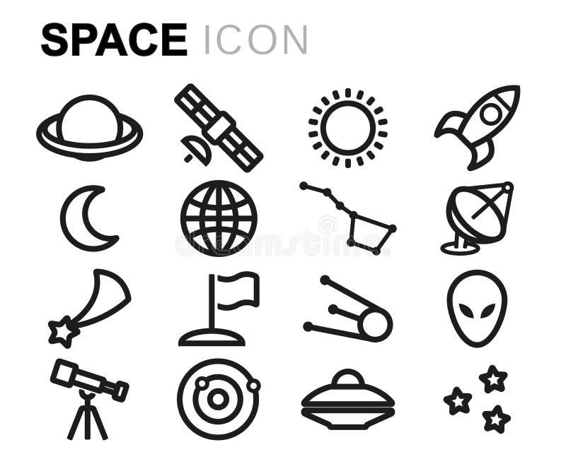 Wektorowe czerni linii przestrzeni ikony ustawiać royalty ilustracja