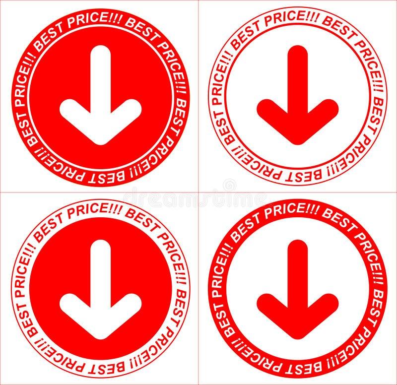 Wektorowe czerwone metki, strzała ilustracji