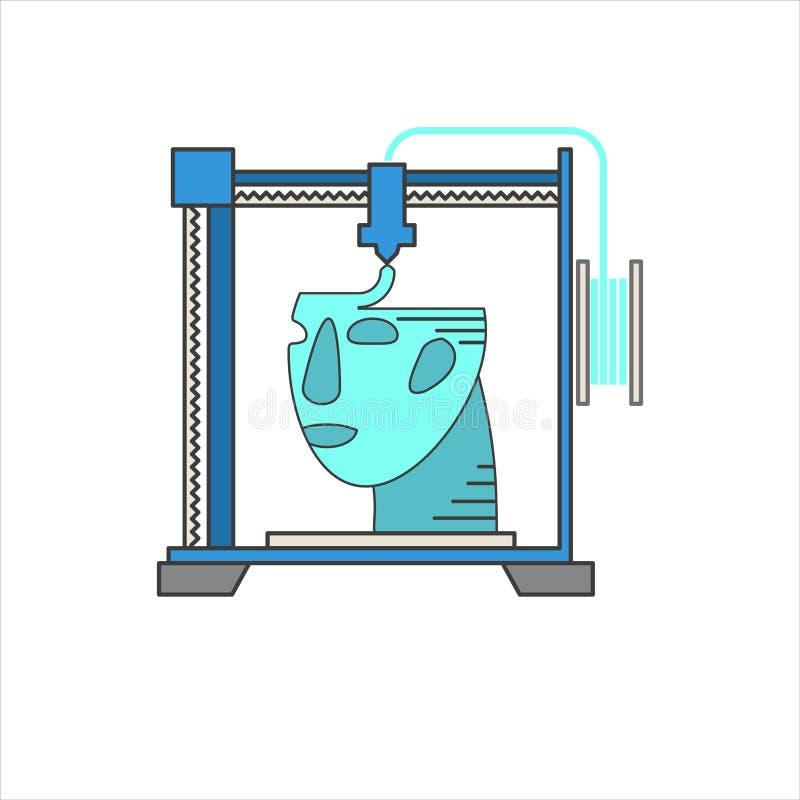 Wektorowe 3D drukarki z ludzką głową ilustracja wektor