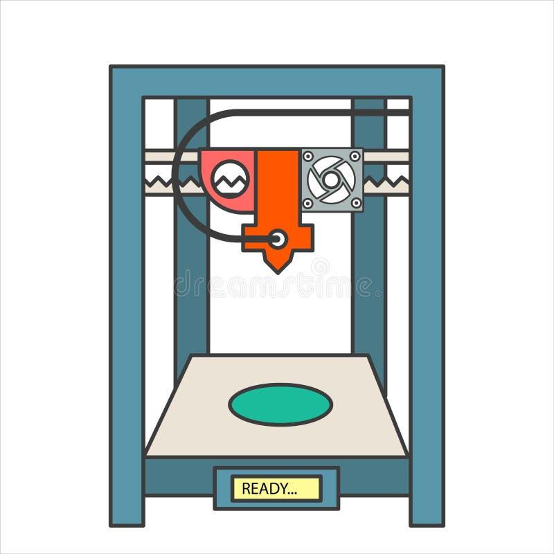 Wektorowe 3D drukarki z ludzką głową royalty ilustracja