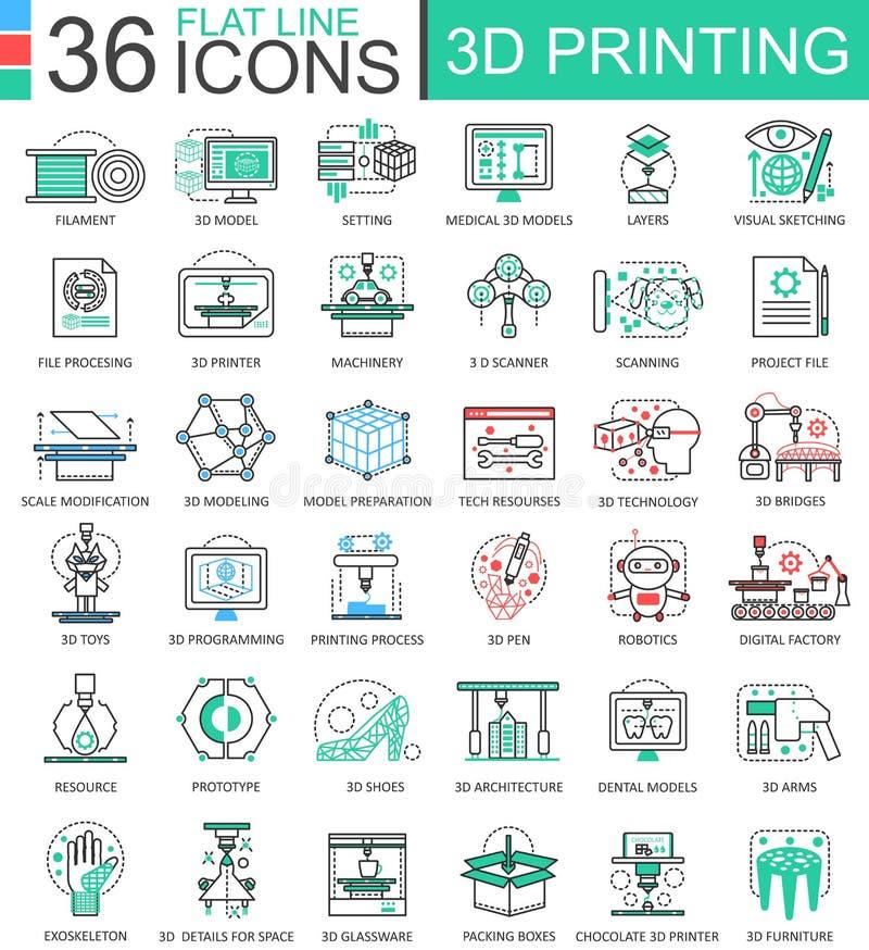 Wektorowe 3D technologii mieszkania linii konturu drukowe ikony dla apps i sieć projekta 3d drukowa ikona ilustracja wektor