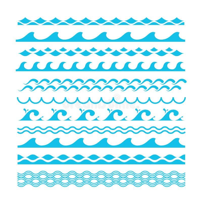 Wektorowe dekoracyjne błękitne morze fala Wodni morscy symbole ustawiający royalty ilustracja