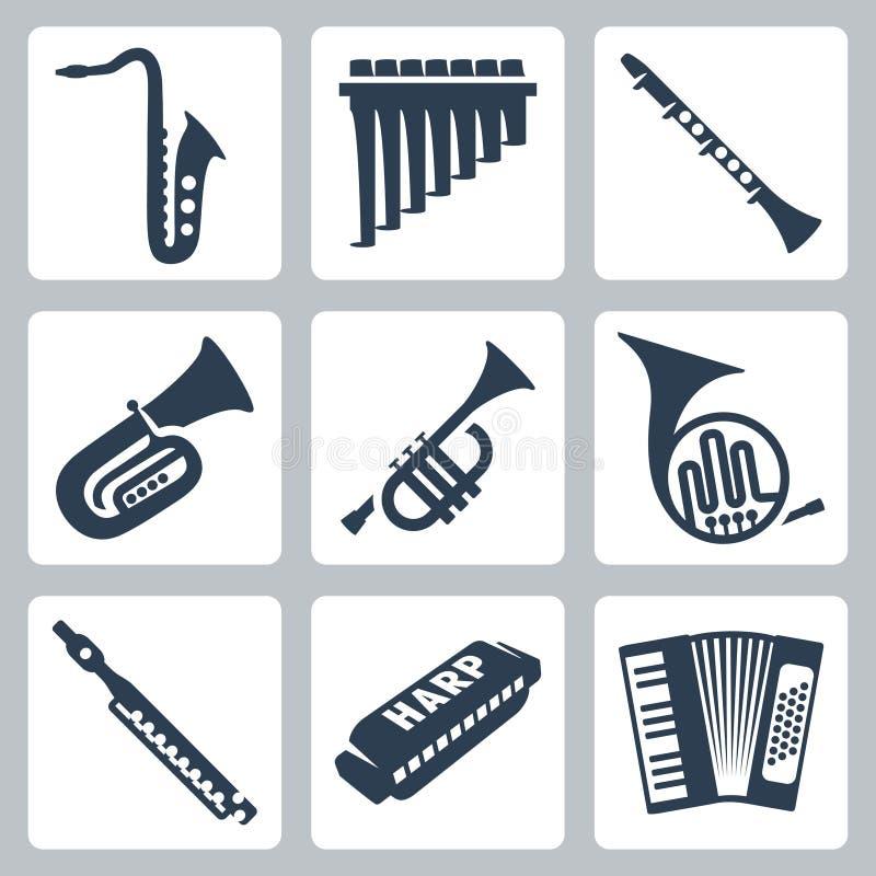 Wektorowe drymby, harmonijka i akordeon, ilustracja wektor