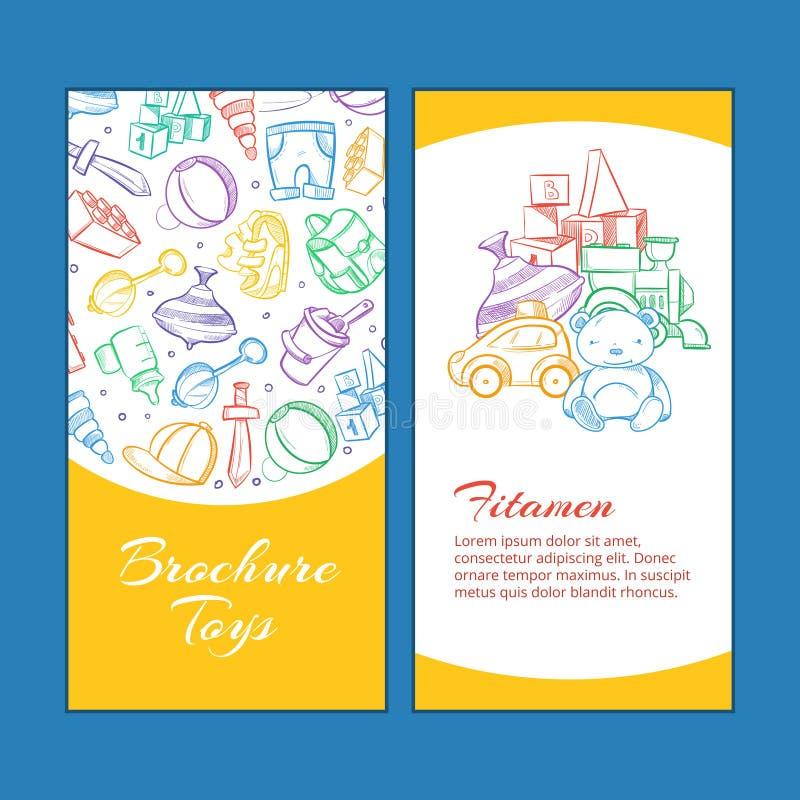 Wektorowe dziecko broszurki strony z doodle żartują zabawki ilustracja wektor