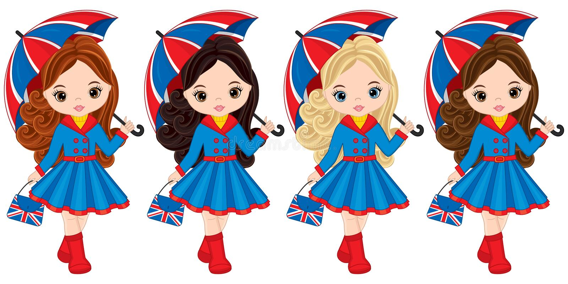 Wektorowe dziewczyny Trzyma parasole i torebki z Brytyjski flaga drukiem ilustracji
