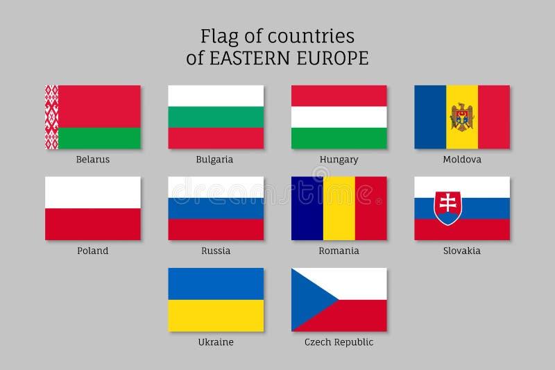 Wektorowe flaga Europa Wschodnia kraje ilustracji