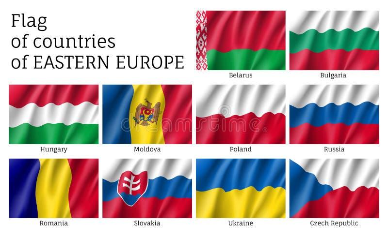 Wektorowe flaga Europa Wschodnia kraje royalty ilustracja