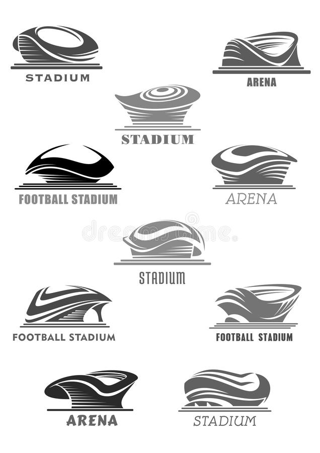 Wektorowe futbolowe areny lub sporta stadium ikony ustawiać royalty ilustracja