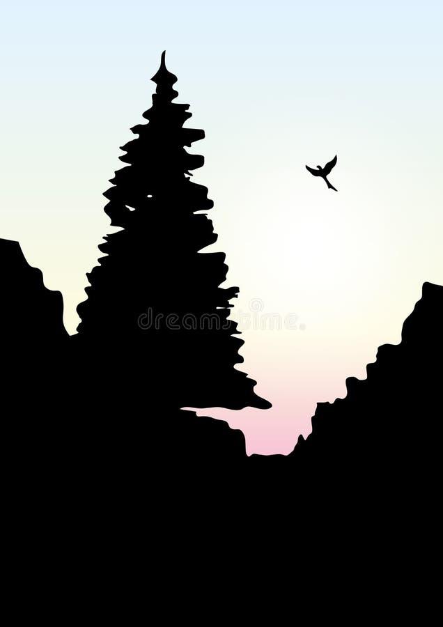 Wektorowe góry i las krajobrazowi na zmierzchu wcześnie obrazy stock