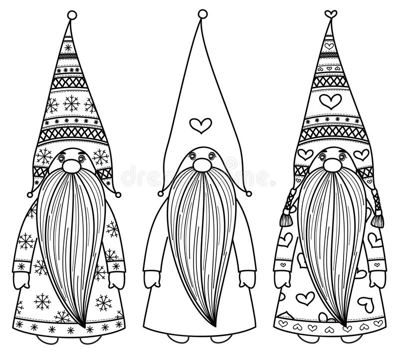 Wektorowe gnom kreskówki, czarne sylwetki ilustracja wektor