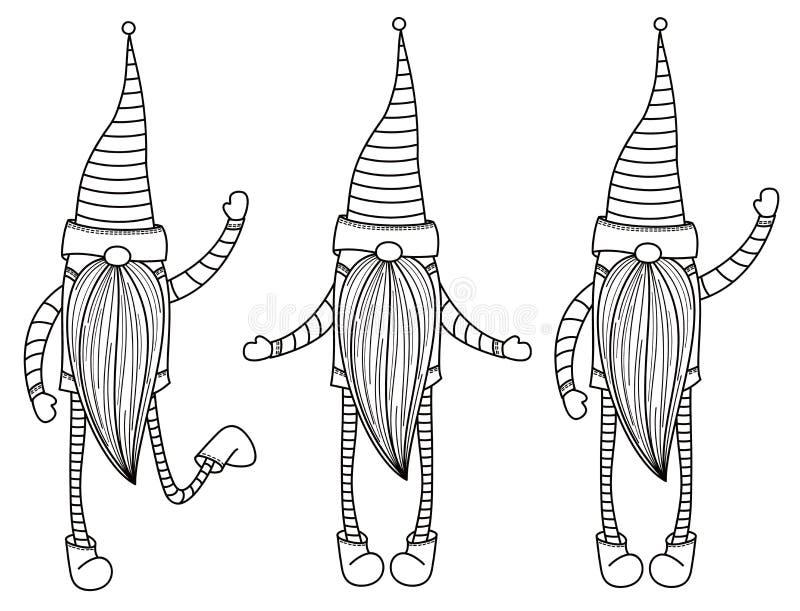 Wektorowe gnom kreskówki, czarne sylwetki royalty ilustracja