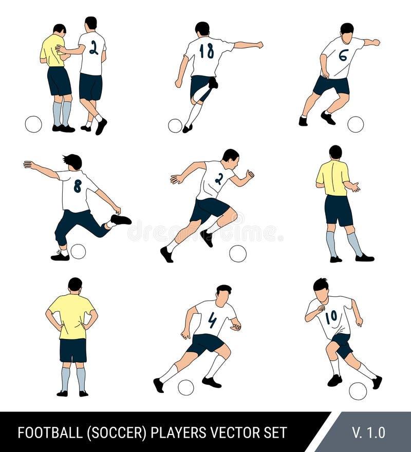 Wektorowe gracz futbolu postacie na białym odosobnionym tle Arbiter i gracz piłki nożnej z piłką Różne pozy, wektor ilustracja wektor