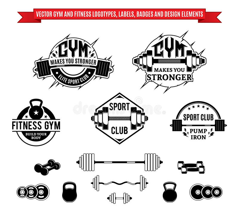 Wektorowe Gym, sprawności fizycznej etykietki i, ilustracja wektor