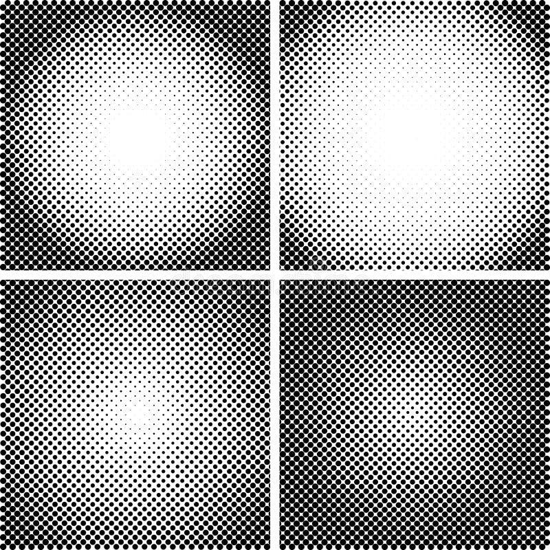 Wektorowe halftone kropki tekstury ustawiać Set 4 halftone ramowego wzoru Analogowa halftone struktura Narzuta wektor ilustracja wektor