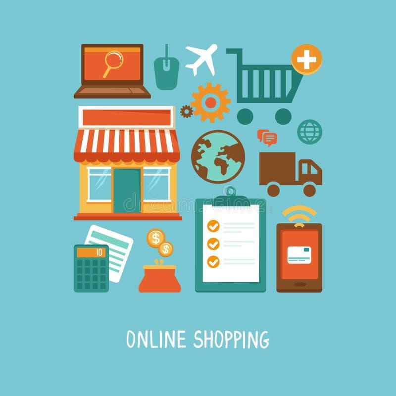 Wektorowe handel elektroniczny ikony i podpisują wewnątrz mieszkanie styl ilustracji