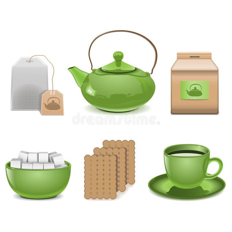 Wektorowe herbaciane ikony ilustracja wektor