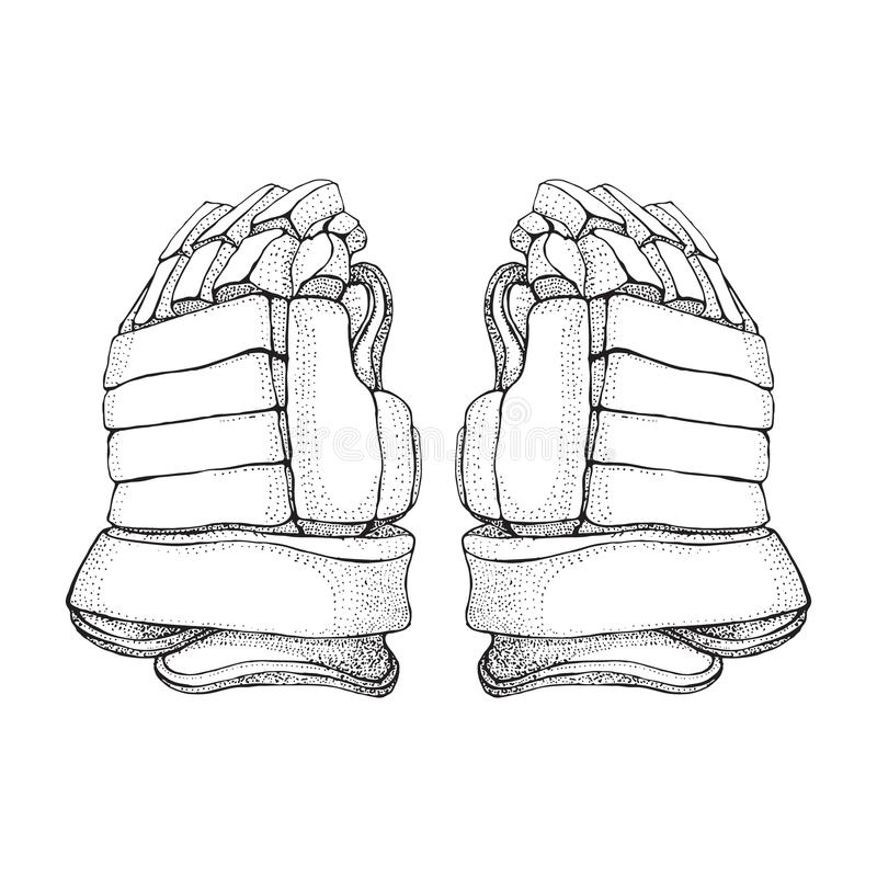 Wektorowe hokejowe rękawiczki Odosobnione hokejowe rękawiczki na białym tle Lodowego hokeja sportów wyposażenie Ręka rysujący Lod ilustracja wektor