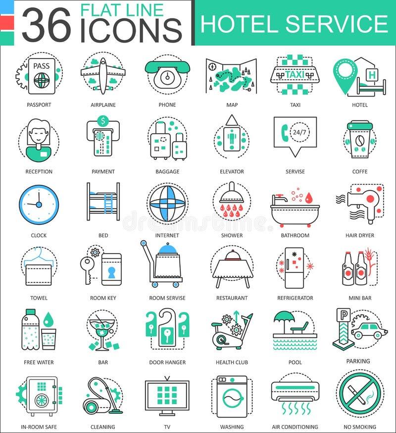 Wektorowe Hotelowe usługowego mieszkania linii konturu ikony dla apps i sieć projekta Hotelowej usługa ikona royalty ilustracja