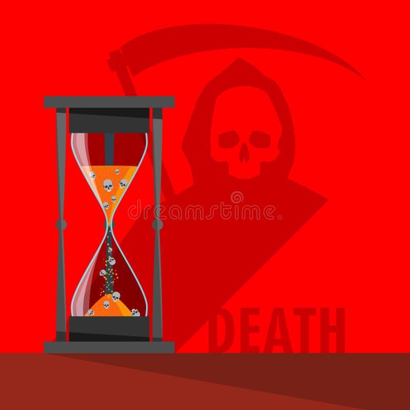 Wektorowe hourglass obsady, śmierć i royalty ilustracja